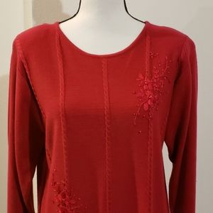 Women's red sweater by Jenny